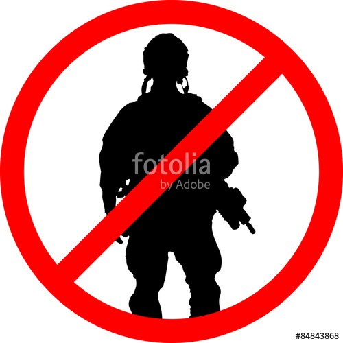500x500 Forbidden Sign With Soldier Silhouette. Anti War Concept. Eps 10