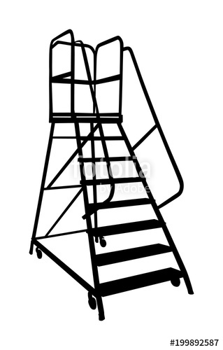 319x500dustry Ladder Vector Silhouette, Iron Scaffold With Wheel