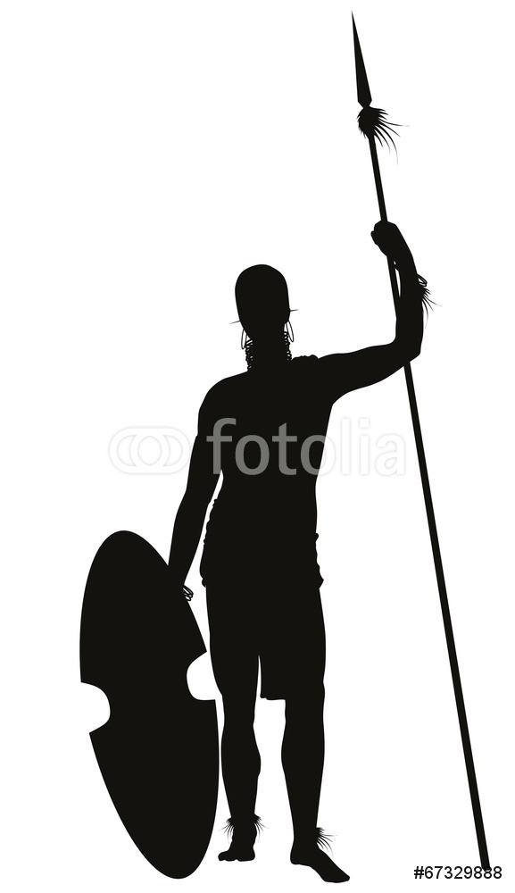 577x1000 African Tribal Warrior Spear Detailed Silhouette Wall Sticker