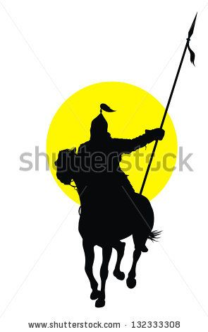 295x470 Medieval Oriental Warrior On Horseback Detailed Vector Silhouette