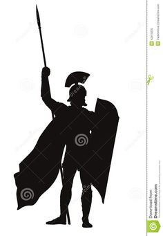 236x341 Vector Roman Warrior With Shield And Spear Vector Silhouette. Eps