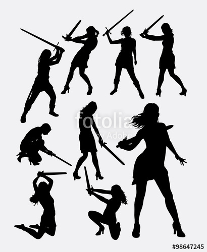 410x500 Warrior Girl With Sword Weapon Silhouette. Good Use For Symbol