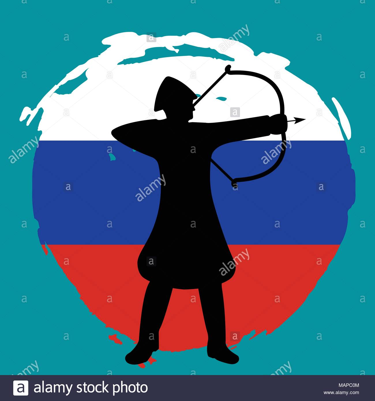 1300x1390 Archer Warrior Silhouette On Russia Flag Background. Isolated