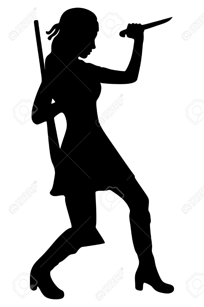 866x1300 Woman Warrior Clipart Black And White