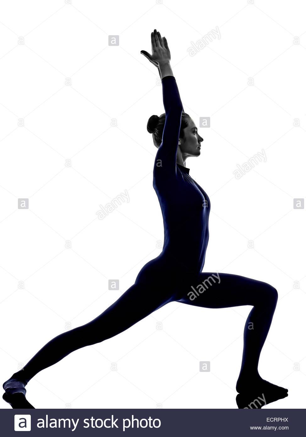 974x1390 Woman Exercising Virbhadrasana I Warrior Pose Yoga Silhouette
