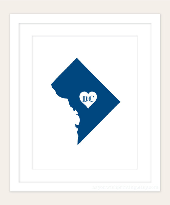 570x685 Washington Dc State Art Silhouette Map Personalized Print