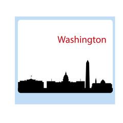 240x240 Washington Dc City Skyline Silhouette. Vector Illustration