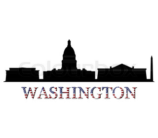 320x280 Washington Dc City Skyline Silhouette Vector Illustration Stock
