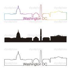 236x236 Washington Dc Skyline Linear Style With Rainbow