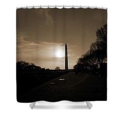 250x250 George Washington Monument Shower Curtains Fine Art America