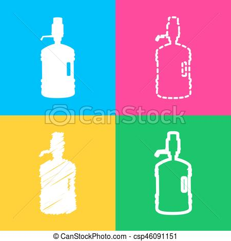 450x470 Plastic Bottle Silhouette With Water And Siphon. Four Styles