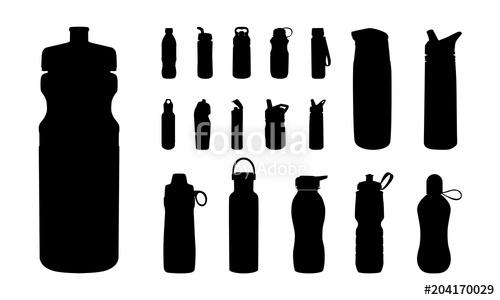 500x300 Set Of Various Water Bottle Silhouette Vector, Sport Water Bottle