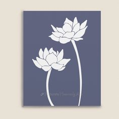 236x236 Purple Amp Blue Lotus Flower On Water Painting Art Print Blue