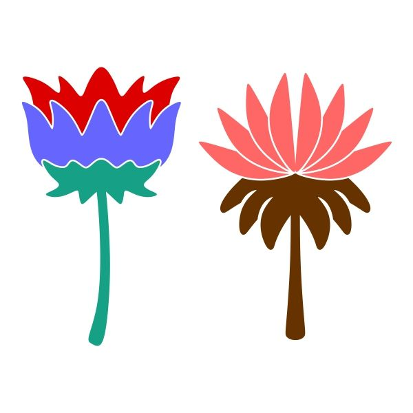 600x600 Water Lily Cuttable Design Cut File. Vector, Clipart, Digital