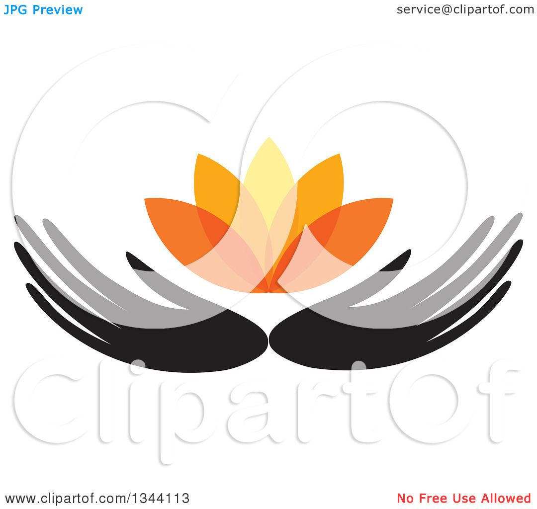 1080x1024 Clipart Of Black Hands Holding An Orange Water Lily Lotus Flower