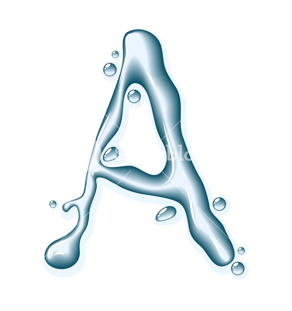 941x1000 Water Liquid Vector Alphabet. Royalty Free Stock Image