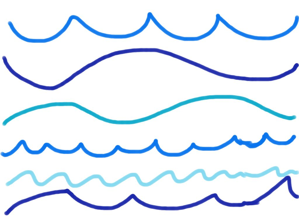 1024x768 Water Waves Line Drawing