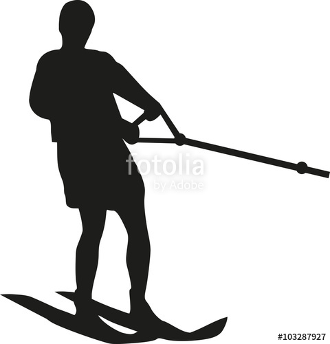 480x500 Water Ski Silhouette With Wave Stock Image And Royalty Free