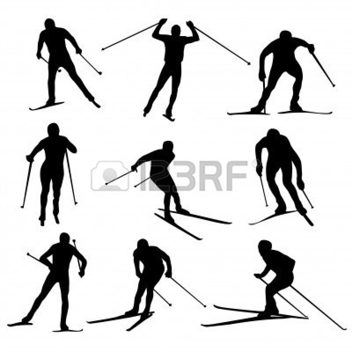 1200x1200 Set Of Nordic Skiing Silhouettes Royalty Free Cliparts, Vectors