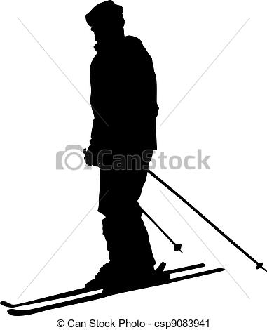 381x470 Skier Skier Silhouette Isolated Vector Clip Art