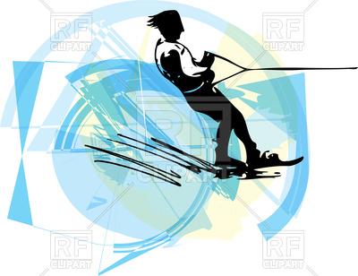 400x308 Water Skiing Abstract Illustration Royalty Free Vector Clip Art