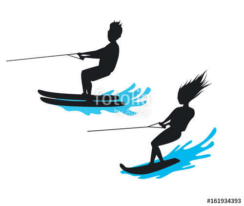 500x422 Man And Woman Riding Waterski And Wakeboard Silhouette Isolated