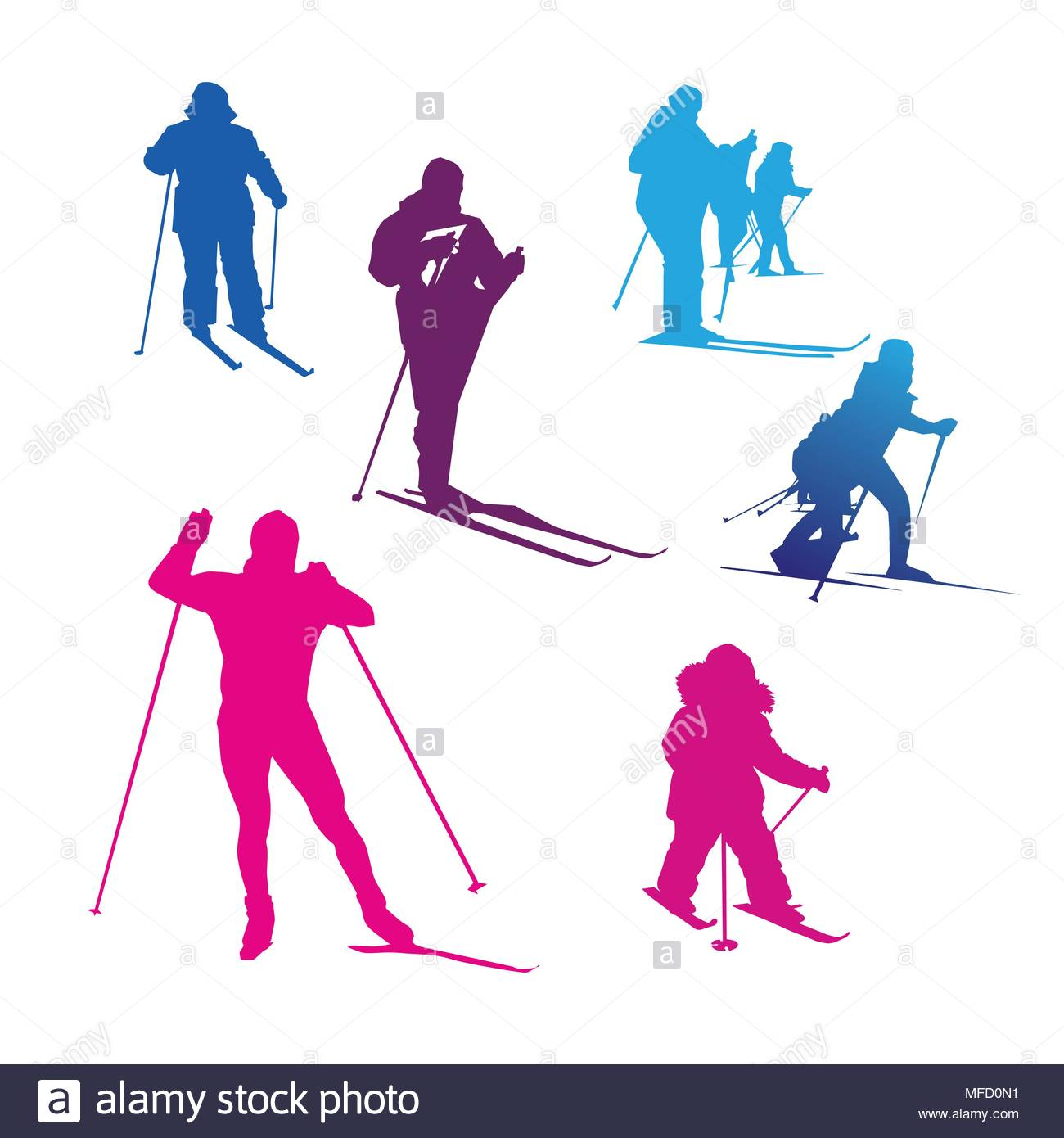 1300x1390 Girl Skiing Stock Vector Images