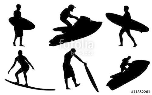 500x311 Surf And Jet Ski Silhouettes Stock Image And Royalty Free Vector