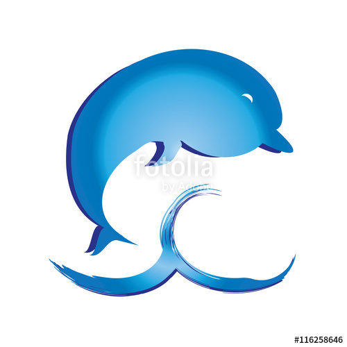 500x500 Dolphin Jumping Above Water Blue Wave Splash Vector Illustration