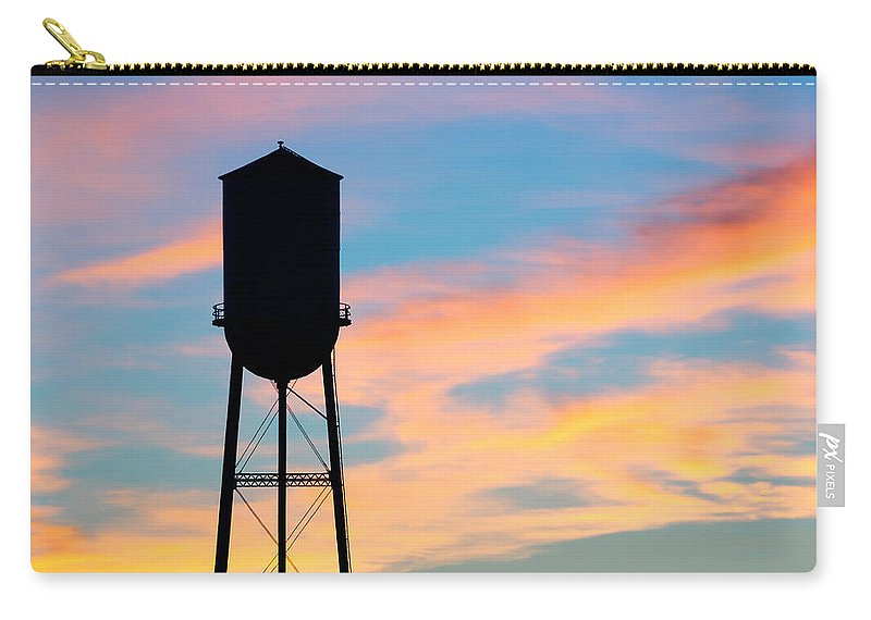 800x570 Silhouette Of Small Town Water Tower Carry All Pouch For Sale By