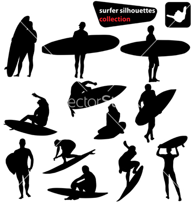 380x400 Surfer Silhouettes Collection Vector 64589