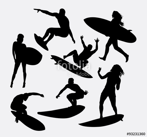 500x466 Surfer Male And Female Sport Activity Silhouettes. Good Use