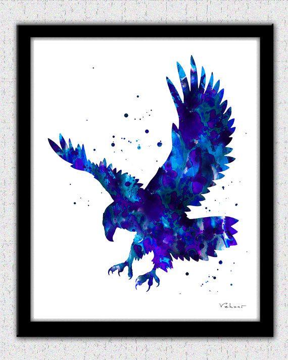 570x713 Eagle Print, Blue Eagle Print, Bold Eagle Art Print, Eagle