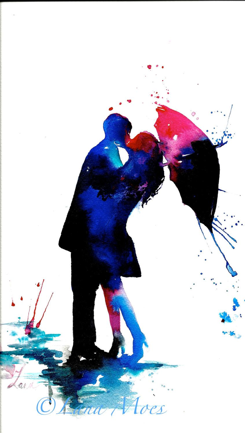 847x1500 Love Kiss Rain Umbrella Art Print From Original Watercolor
