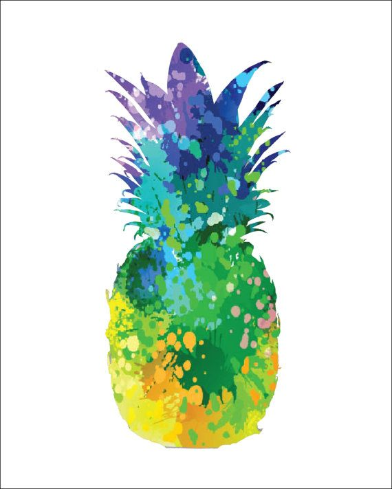 570x711 Pineapple Archival Art Print 8 X 10 Multi Color Watercolor
