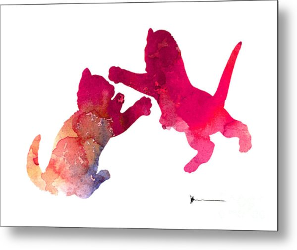 600x505 Two Abstract Cats Playing Watercolor Silhouette Painting By Joanna