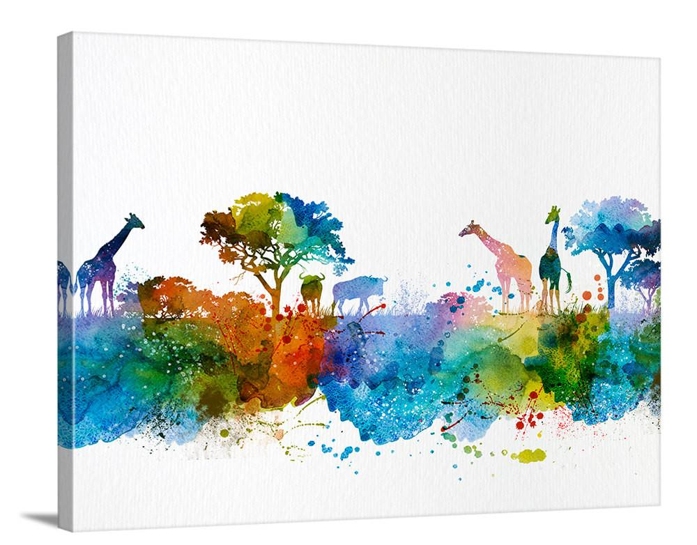 1000x782 Wall Art, Art Print, Watercolor African Savannah Canvas Print