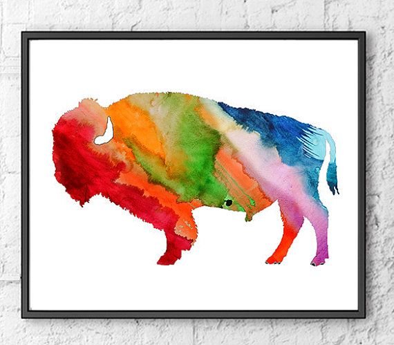 570x499 Watercolor Art Print American Buffalo Painting