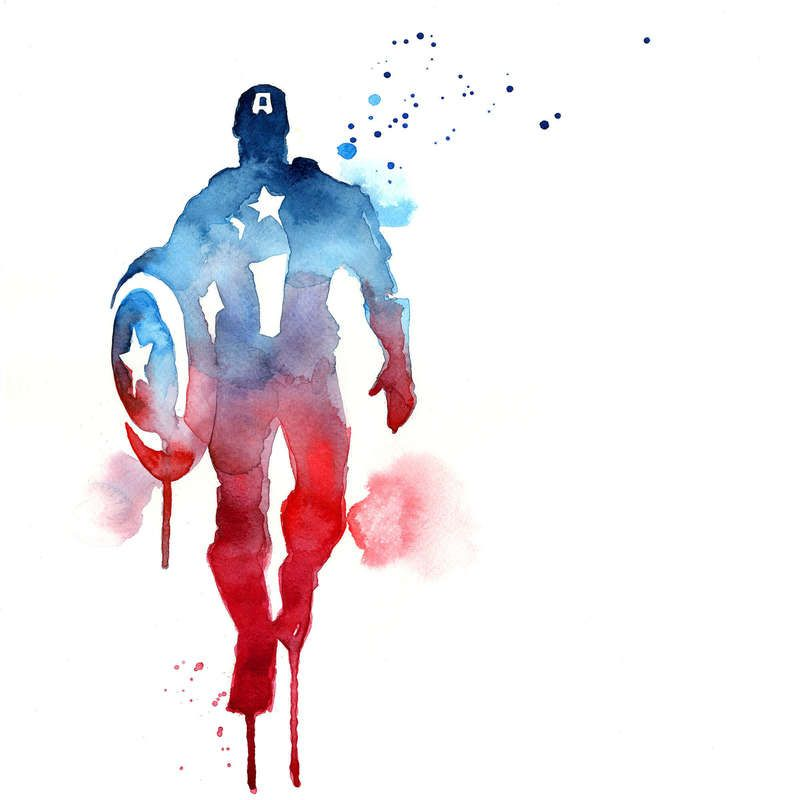 800x800 Captain America Watercolor Silhouette. Paintings