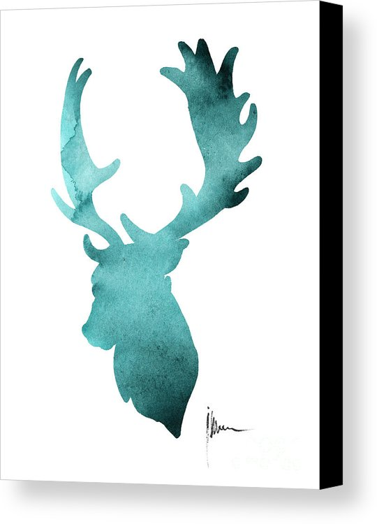 540x750 Deer Head Silhouette Painting Watercolor Art Print Canvas Print