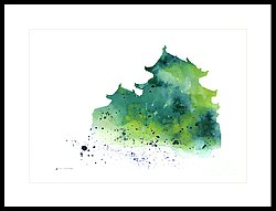 250x191 Japanese Castle Silhouette Watercolor Poster Painting By Joanna