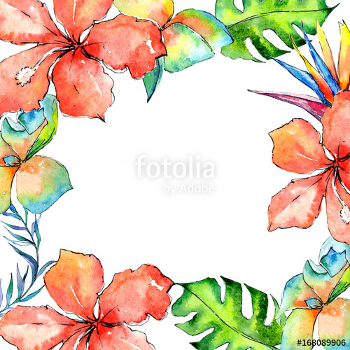 500x500 Tropical Hawaii Leaves Palm Tree Frame In A Watercolor Style