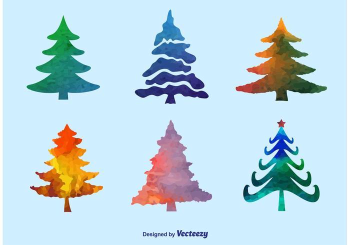 700x490 Watercolor Pine Tree Vectors