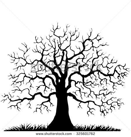 450x470 Drawn Branch Winter Tree
