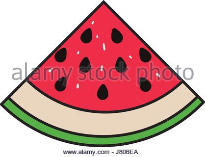 418x320 Colorful Silhouette With Watermelon Fruit Cut And Without Contour