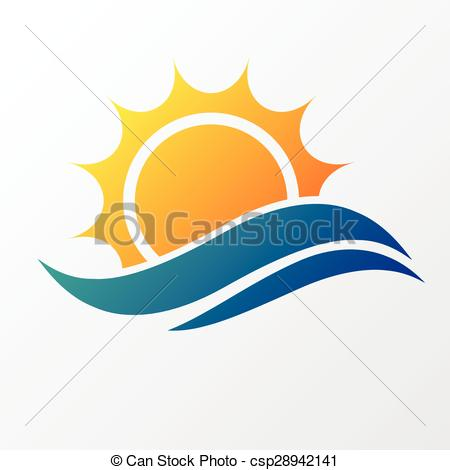 450x470 Sun With Sea Waves. Abstract Silhouette Of Sun And Sea Wave