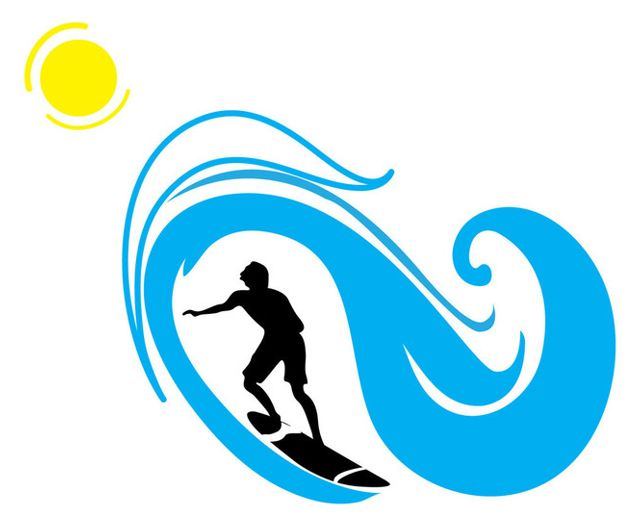 640x526 Surfer And Wave Silhouette Sports