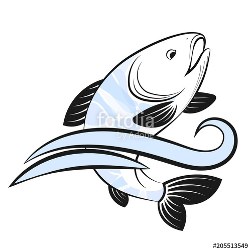 500x500 Fish And Water Wave Silhouette Stock Image And Royalty Free