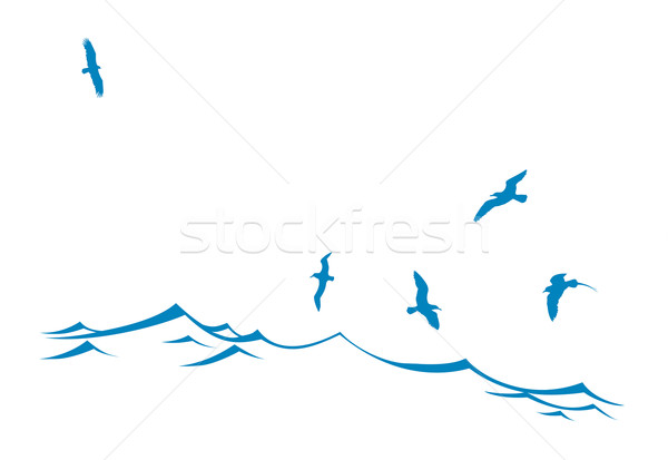 600x413 Vector Silhouette Of The Sea Birds On Wave Vector Illustration