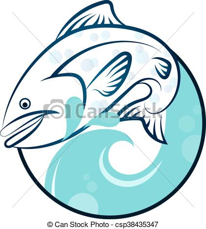 422x470 Fish On The Waves Vector Silhouette Eps Vector